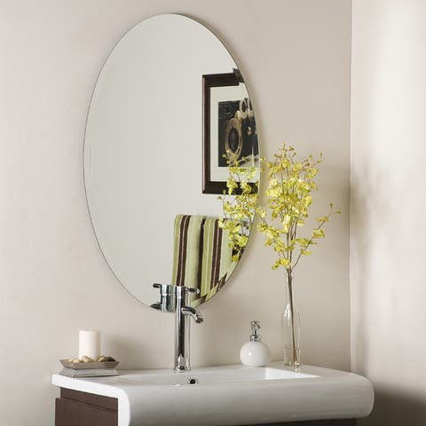 Decor Wonderland Frameless Oval Beveled Mirror - Clear - A/N
