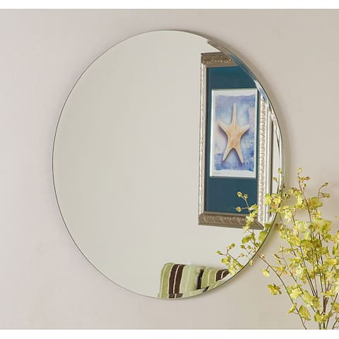 Frameless Round Beveled Mirror - Silver - A/N