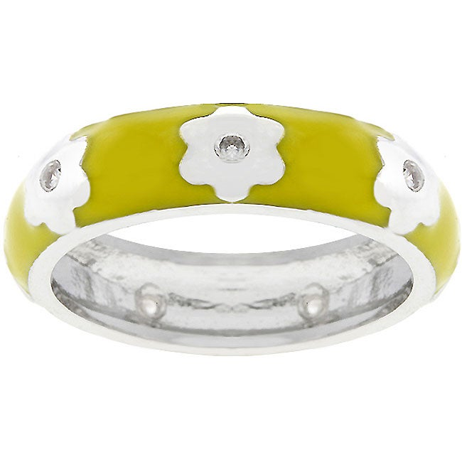 Kate Bissett White Gold-plated Yellow Cubic Zirconia Flower Ring