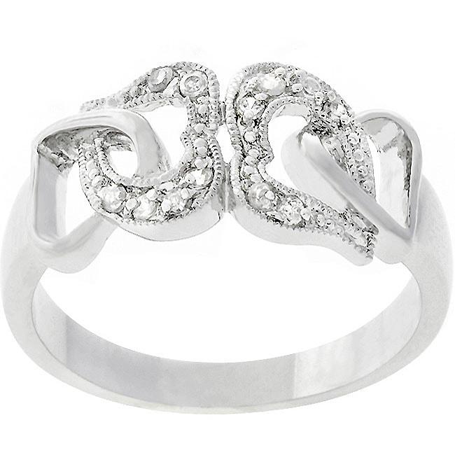 Kate Bissett White Gold Rhodium-bonded CZ Hearts Ring
