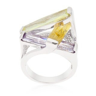 Kate Bissett Silvertone CZ Sculpture Ring