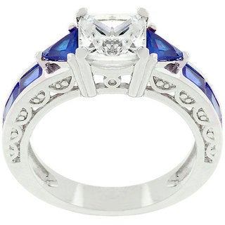 Kate Bissett White Gold Rhodium-bonded Clear/ Blue CZ Regal Ring
