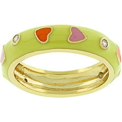 Kate Bissett 14k Gold-bonded Multi-colored Hearts Enamel Ring