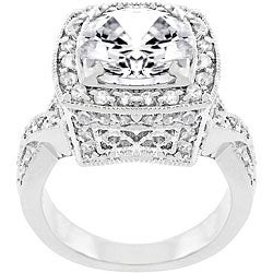 Kate Bissett White Gold Rhodium Bonded CZ Bright Lights Cocktail Ring