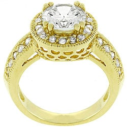 Kate Bissett 14k Yellow Gold Plated Cubic Zirconia Queen's Crown Ring