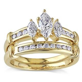 Miadora Signature Collection 14k Gold 1ct TDW Certified Diamond Bridal Ring Set (IGL)