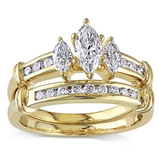 Miadora Signature Collection 14k Gold 1ct TDW Certified Diamond Bridal Ring Set (G-H, I1-I2) (IGL)