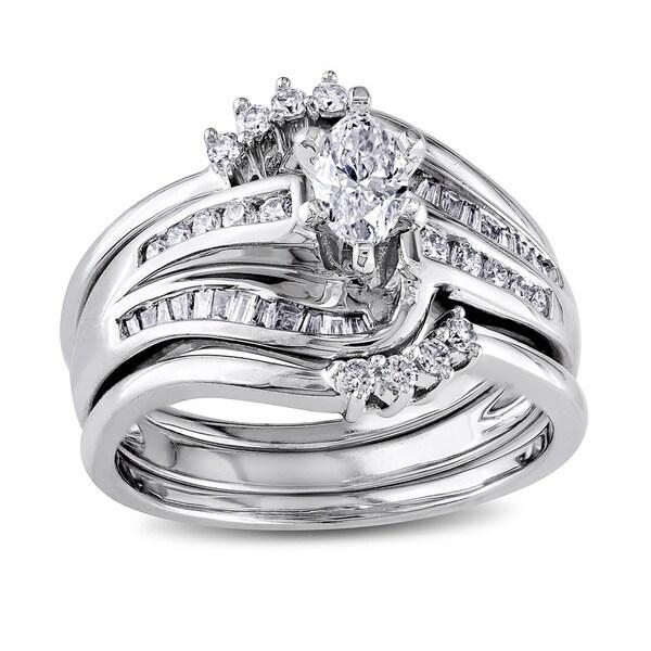 Miadora Signature Collection 14k White Gold 3/4ct TDW Diamond Bridal Set (H-I, I1-I2)