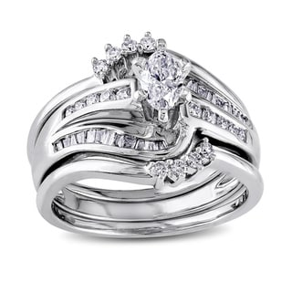 Miadora Signature Collection 14k White Gold 3/4ct TDW Diamond Bridal Set