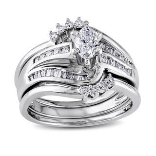 Miadora Signature Collection 14k White Gold 3/4ct TDW Diamond Bridal Set (H-I, I1-I2)