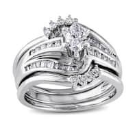 Miadora Signature Collection 14k White Gold 3/4ct TDW Diamond Bridal Set