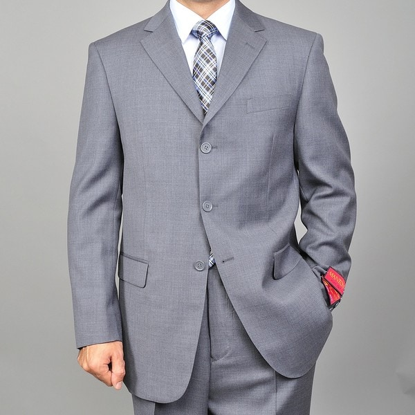Men's 3-button Grey Wool Suit - Free Shipping Today - Overstock ...