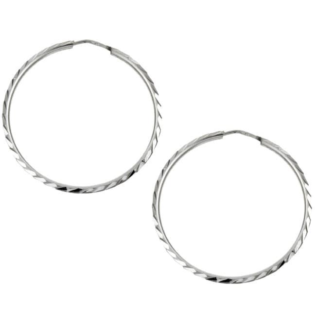 Platifina 1.25 inch Diameter Diamond-Cut Hoop Earring