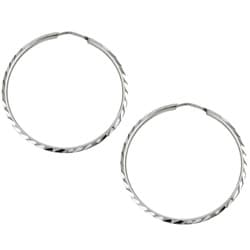 Platifina 1.25 inch Diameter Diamond-Cut Hoop Earring