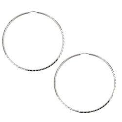 Platifina 2.25 inch Diameter Diamond-Cut Hoop Earring