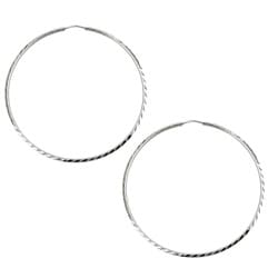 Sterling Essentials Rhodium Plated Silver 2.75 inch Diameter Diamond-Cut Hoop Earring