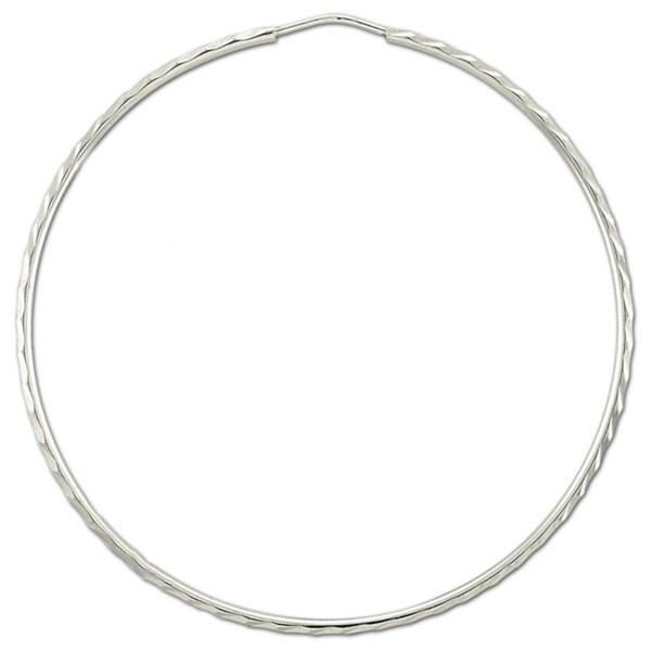 Rhodium Plated Sterling Silver 2.75 inch Diameter Diamond-Cut Hoop Earring