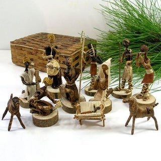 Handmade Banana Fiber  Nativity Set (Kenya)