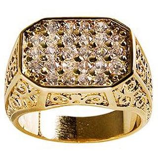 Simon Frank Mens .67 Equal Diamond Weight 14k Gold Overlay Pave CZ Men's Ring