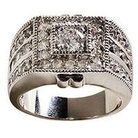 Simon Frank Designs Silver Gold Overlay 'Sparkler' CZ Men's Ring