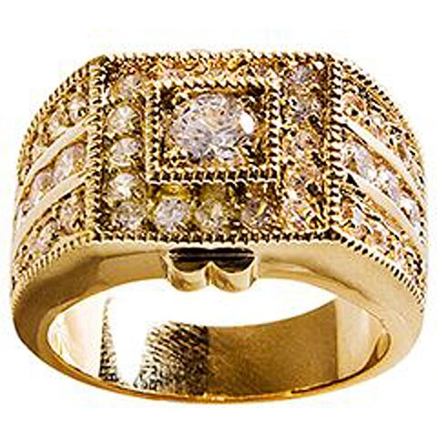 Simon Frank Designs Yellow Gold Overlay 'Sparkler' CZ Men's Ring