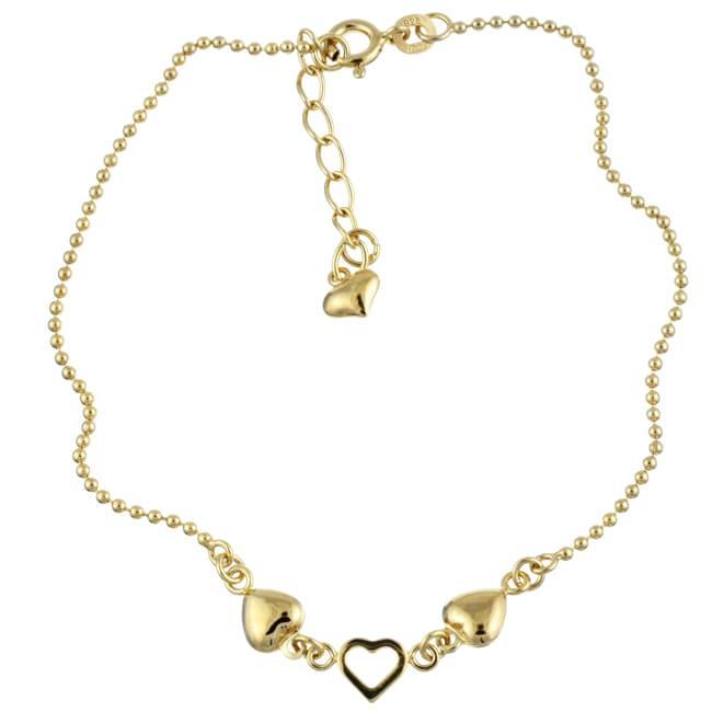 Sterling Essentials 14K Gold over Silver 9-inch Heart Anklet