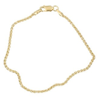 14K Gold over Sterling Silver 9-inch Spiga Anklet
