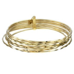 Sterling Essentials 14k Gold over Silver 2.75-inch Semanario Bangles