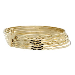Sterling Essentials 14k Gold over Silver 2.5-inch Diamond-cut Bangles