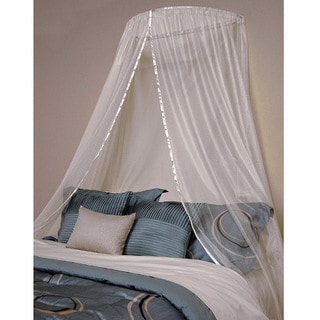 Ceiling Flush Canopy  sc 1 st  Overstock.com & Nile Clear Jewel Beads Sheer White Bed Canopy - Free Shipping ...