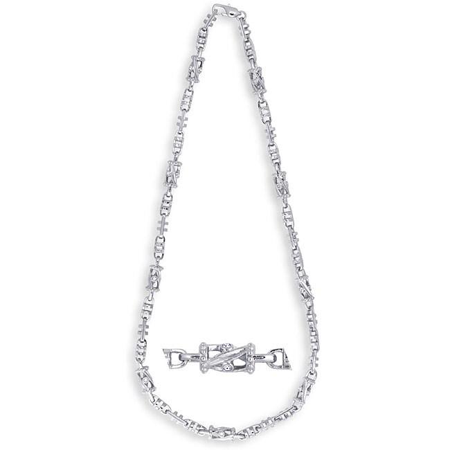 Simon Frank 14k White Gold Overlay Rhinestone Web Necklace