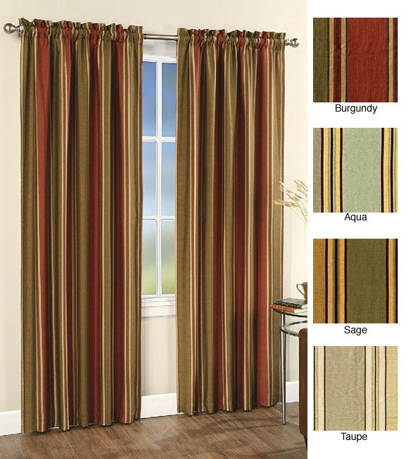 Faux Silk Stripe 84-inch Lined Window Curtain Panel - 11582962 ...