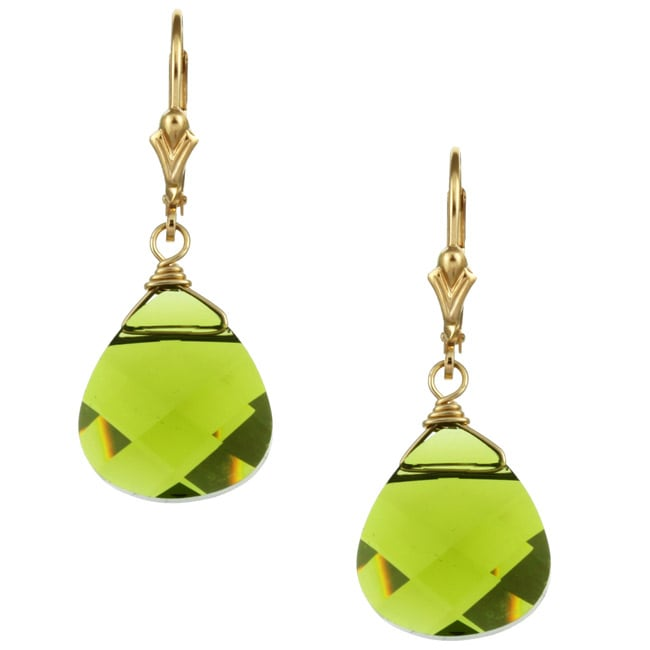 Charming Life 14k Goldfill Green Austrian Crystal Briolette Earrings