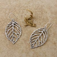 Handmade Sterling Silver Autumn Leaves Cutout Earrings (Mexico)