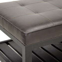 Win Rectangular Brown Bi-cast Leather Ottoman with Shelf - Thumbnail 2
