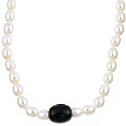 Kabella Freshwater Pearl and Charcoal Jade Barrel Necklace (7.5-8 mm) Silver clasp