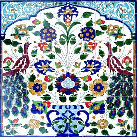 Mosaic Peacock 100-tile Ceramic Mural