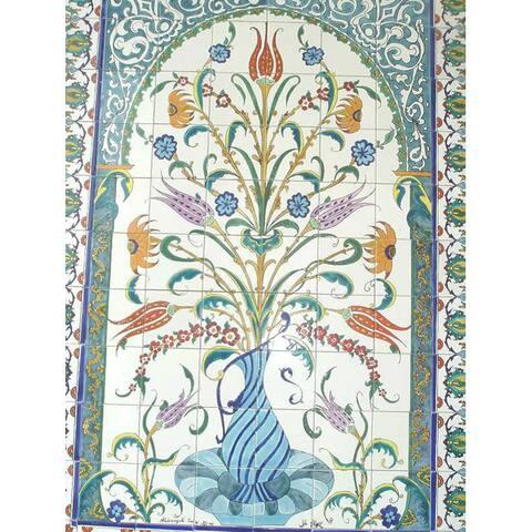 Mosaic 'Decorative Floral Pot' 96-tile Ceramic Wall Mural