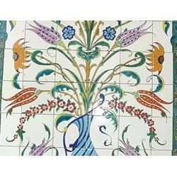 Thumbnail 2, Mosaic 'Decorative Floral Pot' 96-tile Ceramic Wall Mural. Changes active main hero.