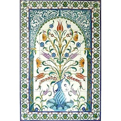 Thumbnail 3, Mosaic 'Decorative Floral Pot' 96-tile Ceramic Wall Mural. Changes active main hero.