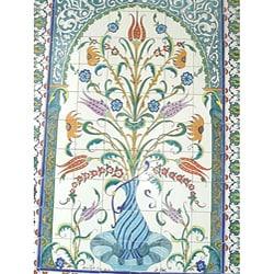 Thumbnail 1, Mosaic 'Decorative Floral Pot' 96-tile Ceramic Wall Mural.