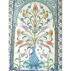 Mosaic 'Decorative Floral Pot' 96-tile Ceramic Wall Mural