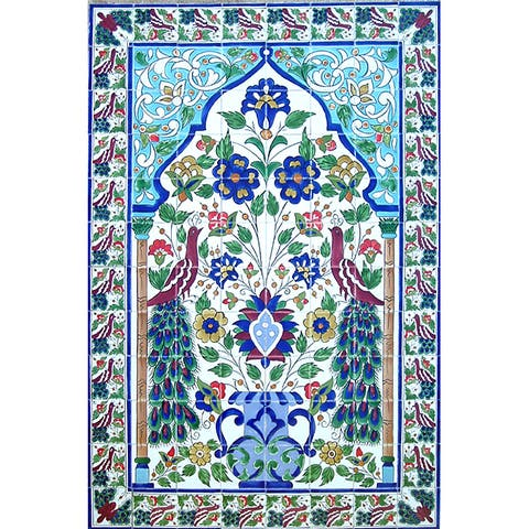 Large Mosaic 'Peacock' Set 96 Ceramic Tile Panel Wall Mural
