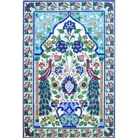 Large Mosaic 'Peacock' Set 96 Ceramic Tile Panel Wall Mural