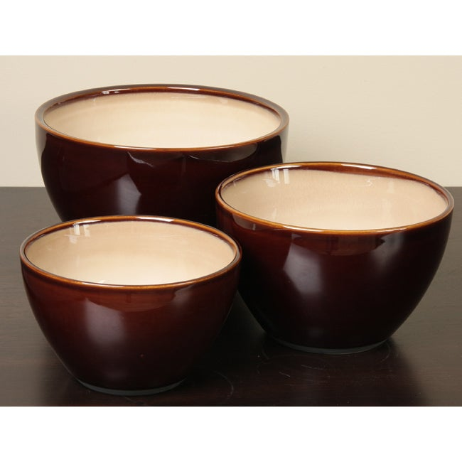 Sango Nova Brown 3-piece Mixing Bowl Set