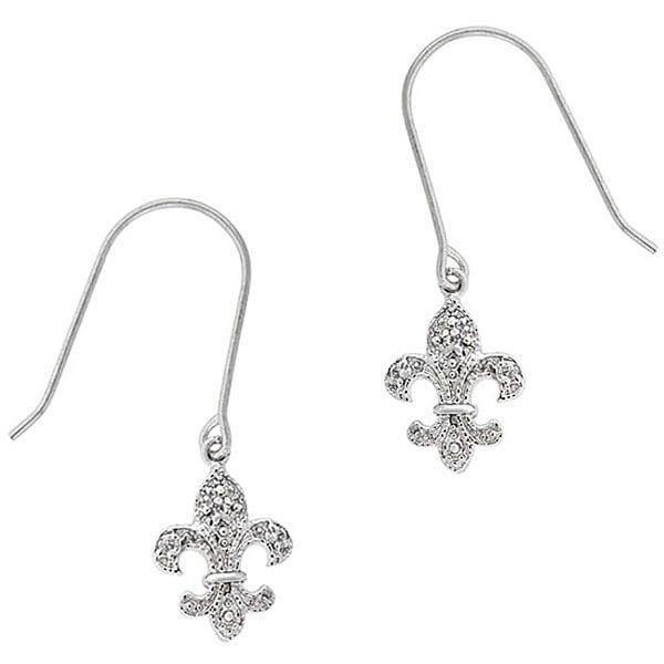Icz Stonez Sterling Silver CZ Fleur de Lis Earrings