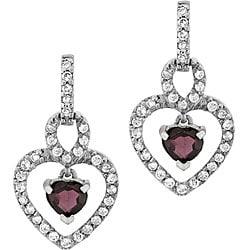 Glitzy Rocks Sterling Silver Garnet and CZ Heart Earrings