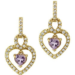 Glitzy Rocks 18k Goldplated Silver Amethyst and CZ Heart Earrings