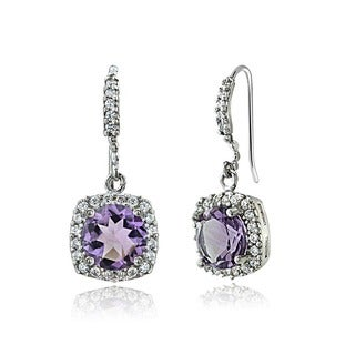 Glitzy Rocks Sterling Silver Gemstone and CZ Dangle Earrings