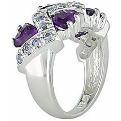 Sterling Silver Amethyst and Tanzanite Ring - Thumbnail 1